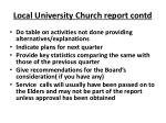 local university church report contd