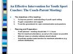 an effective intervention for youth sport coaches the coach parent meeting