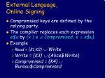 external language online signing