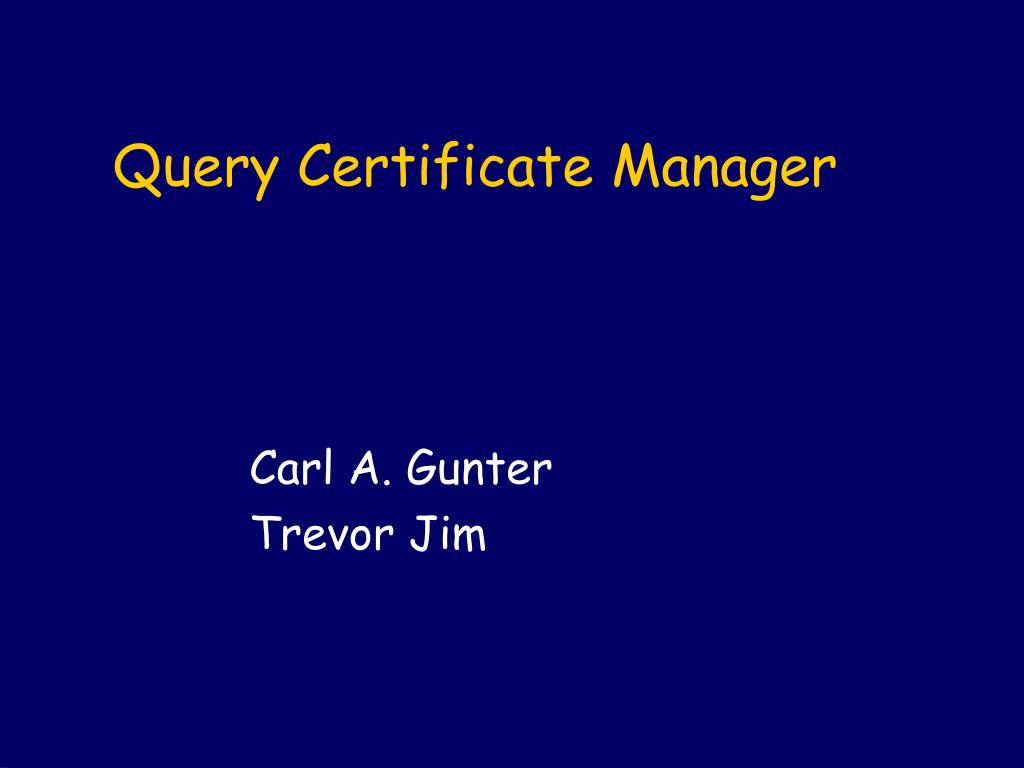 query certificate manager l.
