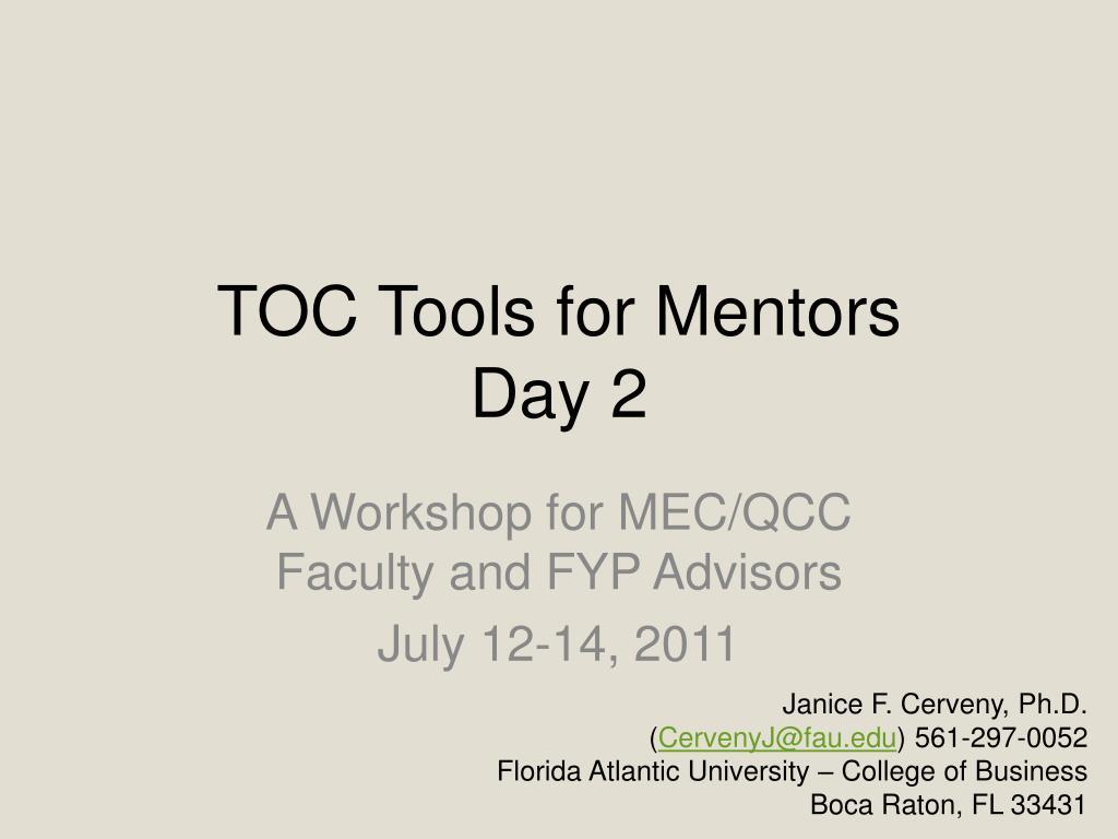 toc tools for mentors day 2 l.