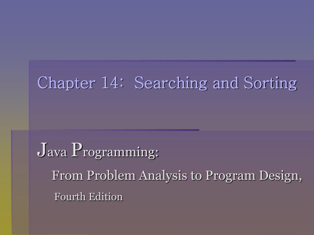 chapter 14 searching and sorting l.