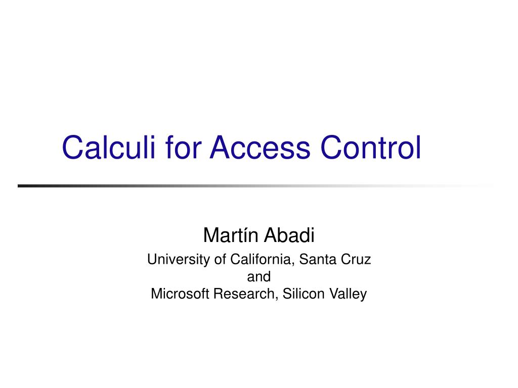 calculi for access control l.