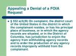 appealing a denial of a foia request