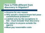 how is foia different from discovery in litigation