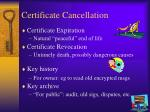 certificate cancellation