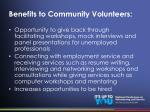 benefits to community volunteers