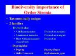 biodiversity importance of order sirenia