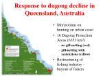 response to dugong decline in queensland australia