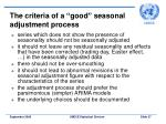 the criteria of a good seasonal adjustment process