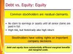 debt vs equity equity