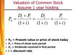 valuation of common stock assume 1 year holding
