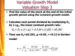 variable growth model valuation step 3