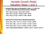 variable growth model valuation steps 1 and 2