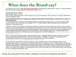 what does the board say