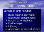 the problems associated with unregulated anchoring