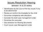 issues resolution hearing between 16 25 weeks