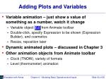 adding plots and variables