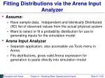 fitting distributions via the arena input analyzer