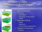 the application of ocean observations in the oil and gas industry