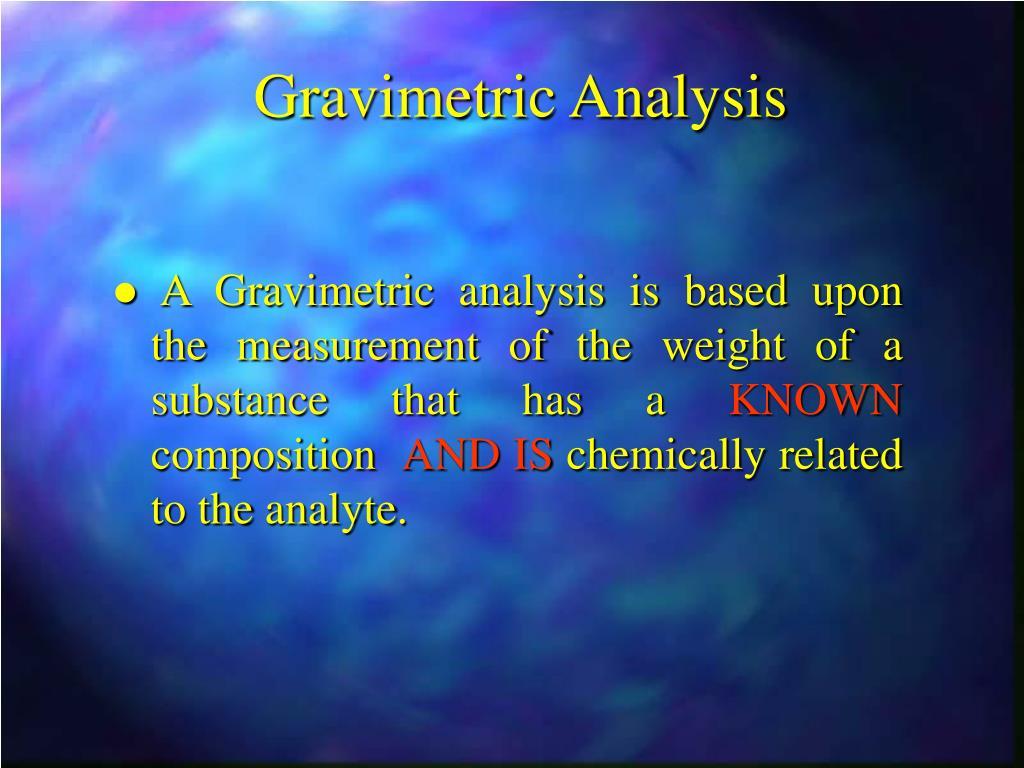 gravimetric analysis l.