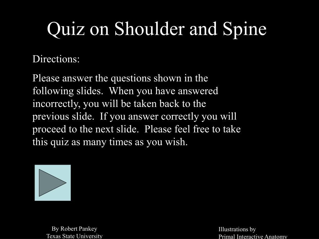 quiz on shoulder and spine l.