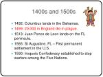 1400s and 1500s