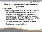 how is congestion redispatch service provided16