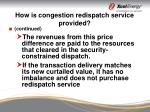 how is congestion redispatch service provided17
