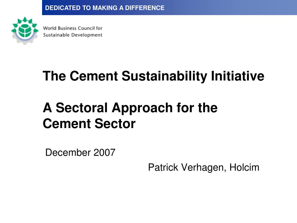 the cement sustainability initiative a sectoral approach for the cement sector l.