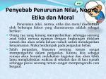 penyebab penurunan nilai norma etika dan moral