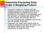 determine processing order under a weighting protocol