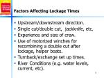 factors affecting lockage times