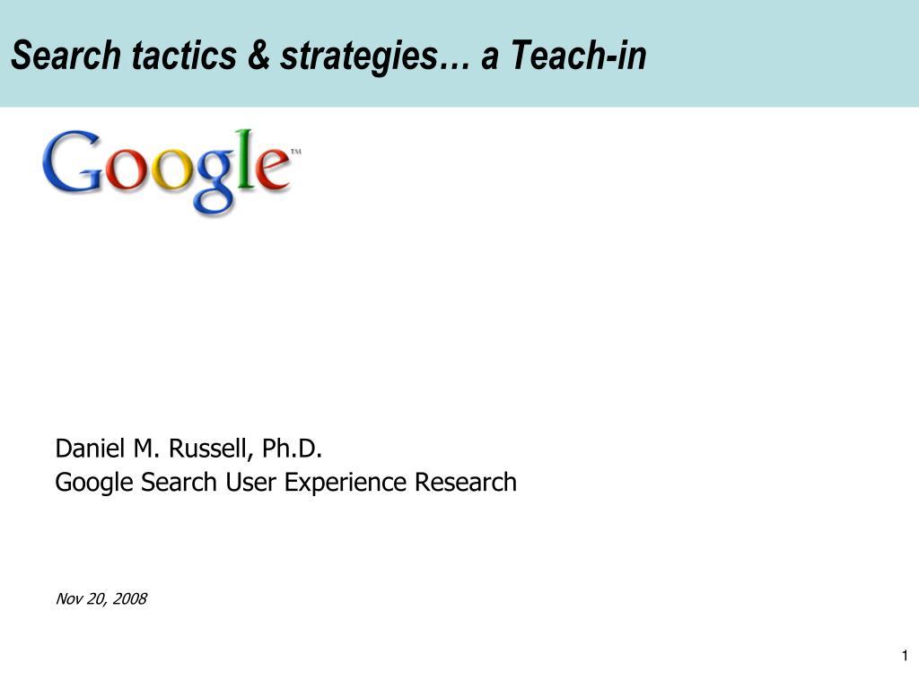 search tactics strategies a teach in l.