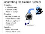 controlling the search system