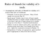 rules of thumb for validity of t tools