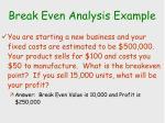 break even analysis example10