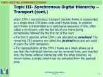 topic iii synchronous digital hierarchy transport cont
