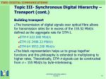 topic iii synchronous digital hierarchy transport cont18