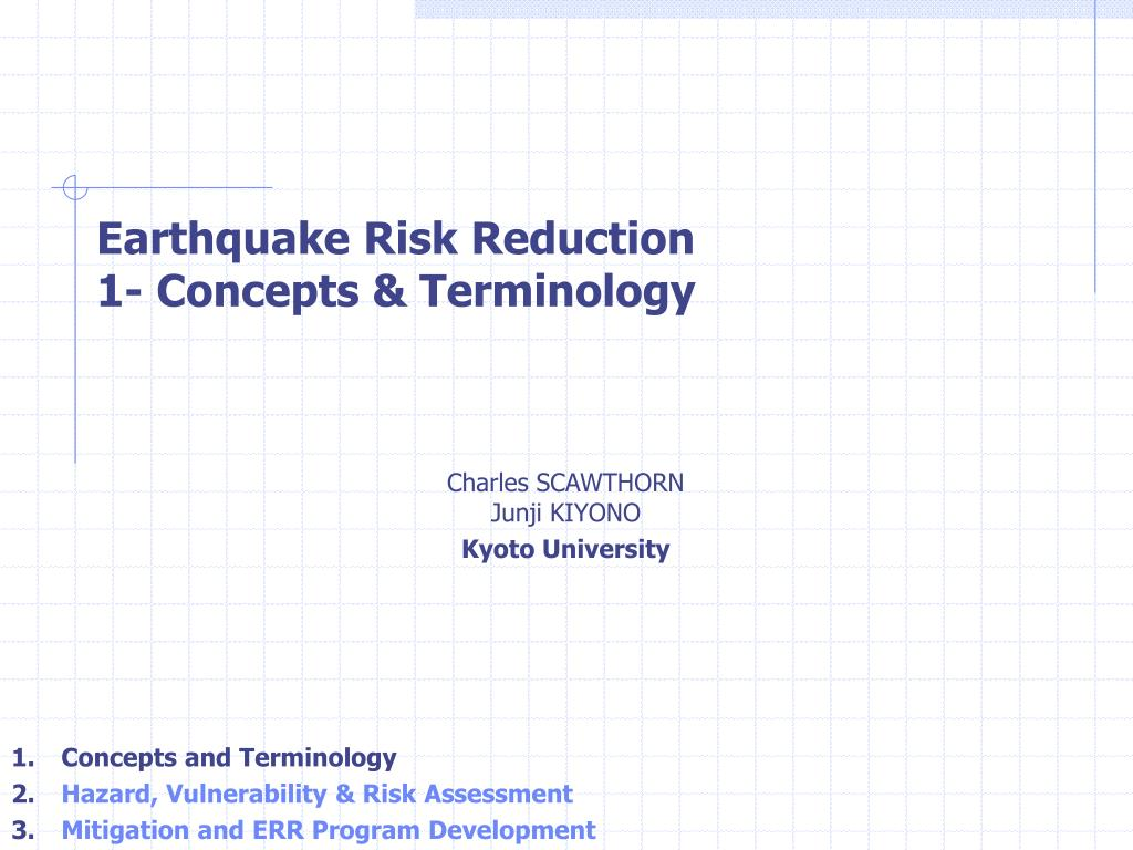 earthquake risk reduction 1 concepts terminology l.