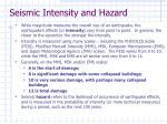 seismic intensity and hazard