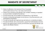 mandate of secretariat