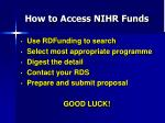 how to access nihr funds