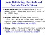 auto refinishing chemicals and potential health effects