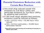 potential emissions reduction with certain best practices