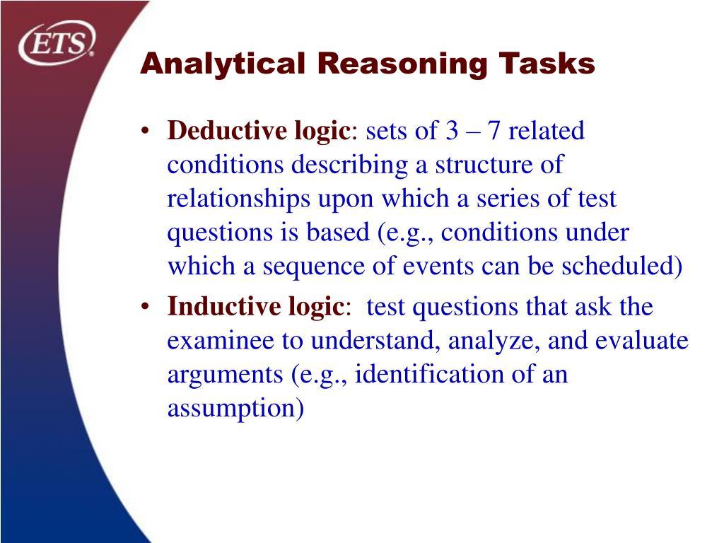 Analytical Reasoning Tasks