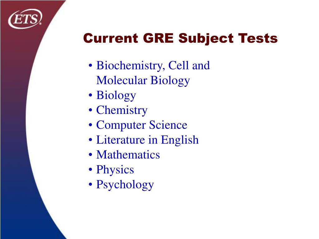 Current GRE Subject Tests