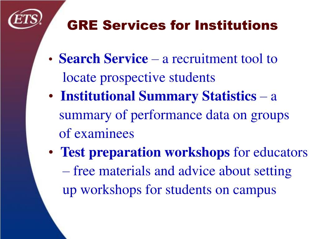 GRE Services for Institutions
