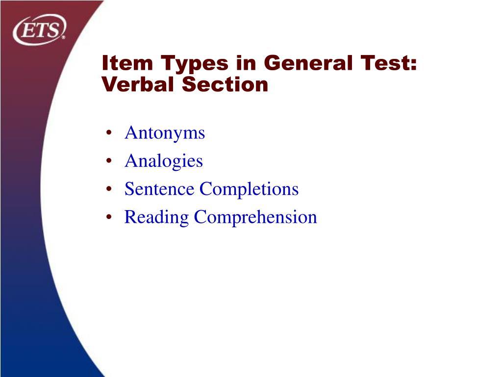 Item Types in General Test: