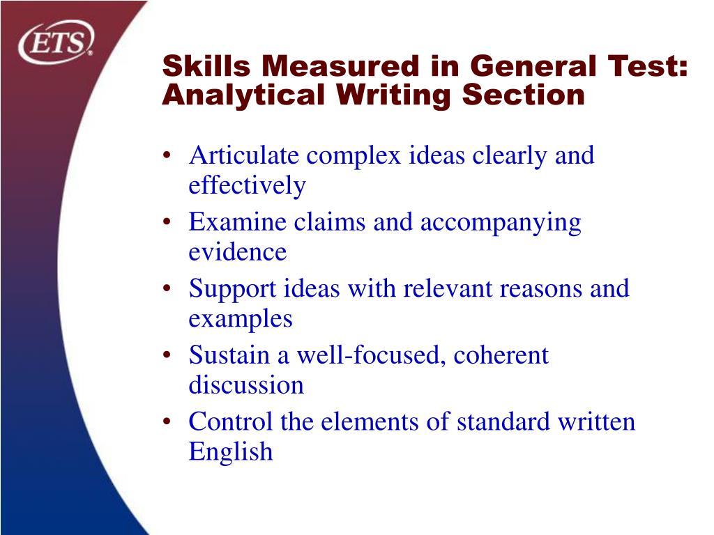 Skills Measured in General Test: